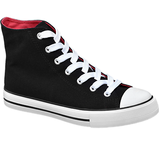 damen mid cut leinen sneakers von vty in rot. Black Bedroom Furniture Sets. Home Design Ideas