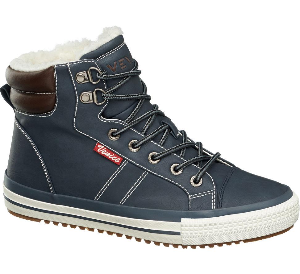 damen mid cut sneakers gef ttert von venice in blau. Black Bedroom Furniture Sets. Home Design Ideas
