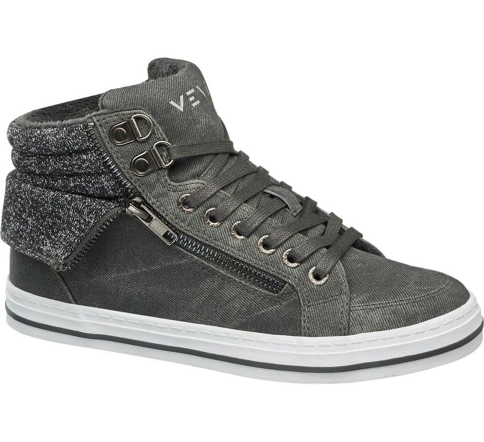 damen mid cut sneakers gef ttert von venice in grau. Black Bedroom Furniture Sets. Home Design Ideas