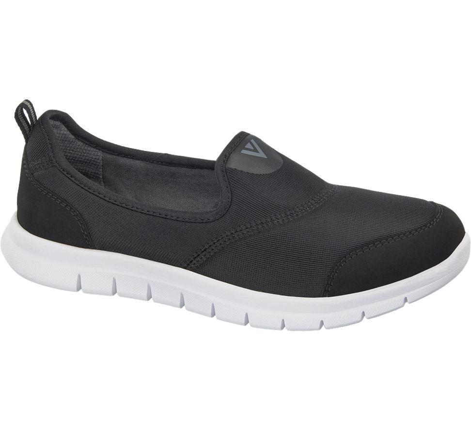damen slip on sneakers von venice in schwarz. Black Bedroom Furniture Sets. Home Design Ideas