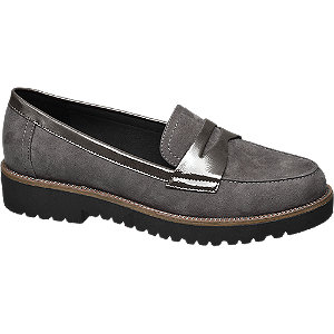 Graceland Grijze loafer metallic lak