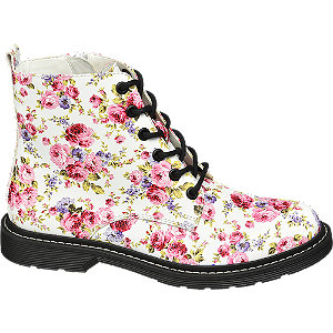 Biela šnurovacia obuv so zipsom a kvetinovým vzorom Catwalk