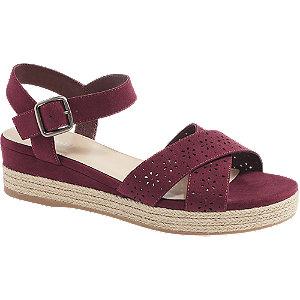 Bordové sandále na klinovom podpätku Graceland