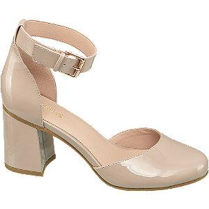 Béžové lakované sandále na podpätku Graceland