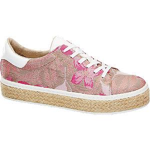 Leinen Plateau Sneakers