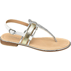 Sandalen in Metallic-Optik