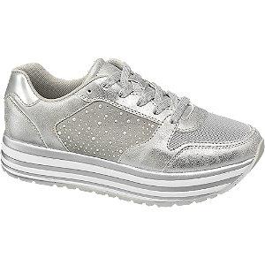 Ezüst női platform sneaker