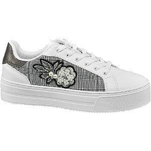 Fehér gyöngyös platform sneaker