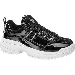 Fekete lakk hatású női chunky sneaker