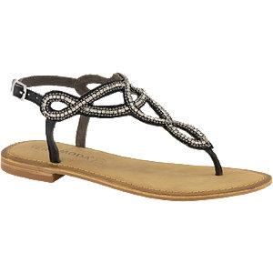 Fekete strasszos lábujjközi saru