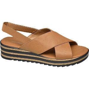 Keil Sandalen in Braun mit Schichtboden