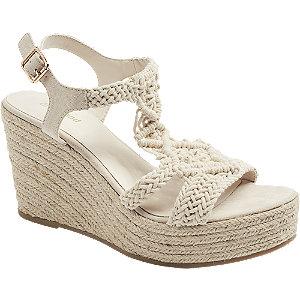 Keil Sandaletten in Beige mit Strick-Details