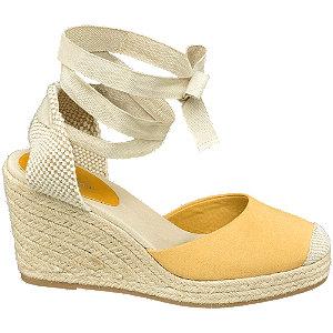 Keil Sandaletten in Gelb mit Fessel