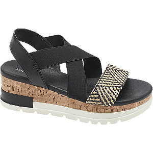 Keil Sandaletten in Schwarz