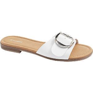 Pantoletten in Weiß mit Deko-Schnalle