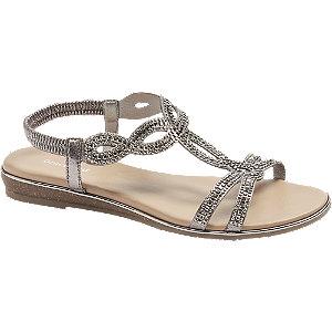 Sandalen in Grau mit Metallic-Optik