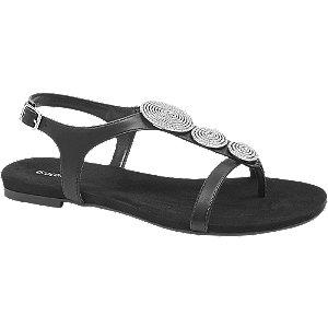 Sandalen in Schwarz mit Schmucksteinen