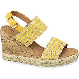 Sling Sandaletten in Gelb mit Keilabsatz