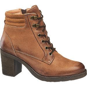 Hnědá kožená šněrovací obuv 5th Avenue se zipem