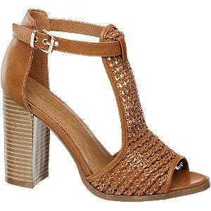 Hnědé sandály na podpatku Graceland