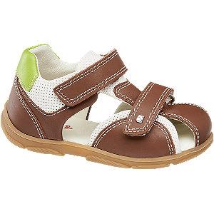 Hnedé detské kožené sandále na suchý zips Elefanten.