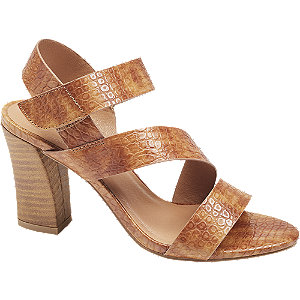 Hnedé sandále na podpätku so zvieracím vzorom Catwalk