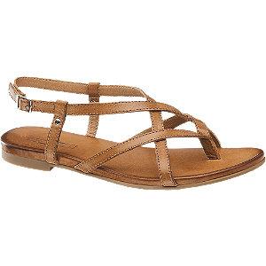 Koňakové kožené sandály 5th Avenue