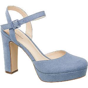 Modré sandály na podpatku Graceland