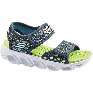 Modro-zelené sandále na suchý zips so svetielkom Skechers