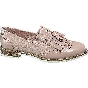 Púderszínű rojtos loafer