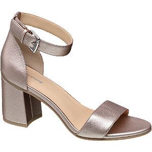 Růžovozlaté sandály na podpatku Graceland