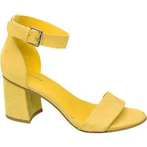 Sárga blokk sarkú szandál