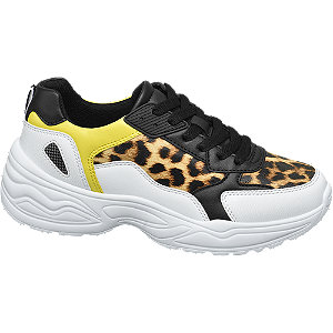 Chunky Sneakers in Weiß mit Animal Print