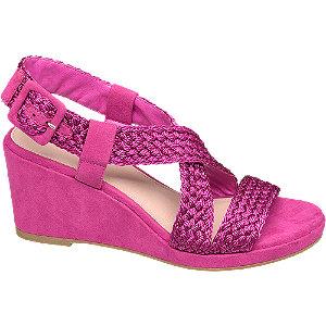Keil Sandaletten in Pink mit Flechtdetails