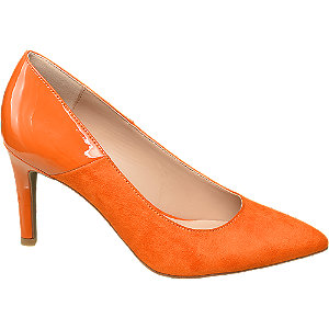 Pumps in Orange mit Lack Detail