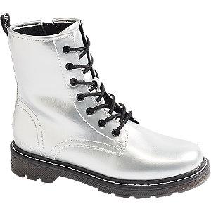 Stříbrná šněrovací obuv se zipem Catwalk