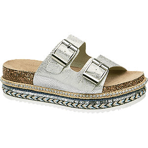 Stříbrné pantofle na platformě Catwalk