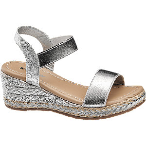 Strieborné sandále na klinovom podpätku Graceland