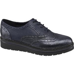 Sötétkék női dandy cipő