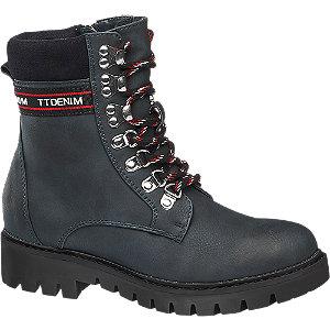 Tmavě modrá šněrovací obuv Tom Tailor se zipem