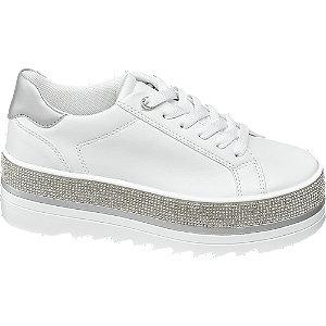 Plateau Sneaker in Weiß mit Glitzer Details