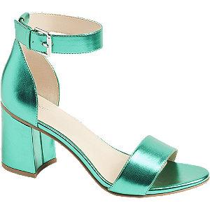 Zelené metalické sandále na podpätku Graceland