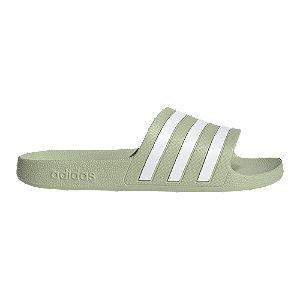 Zeleno-biele plážové šľapky Adidas Adilette Aqua
