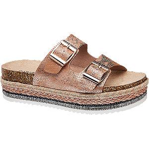 Zlatorůžové pantofle na platformě Catwalk