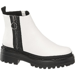 białe botki damskie Catwalk na czarnej podeszwie