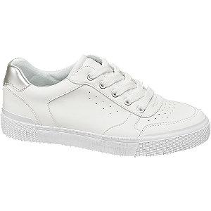 białe sneakersy damskie Graceland ze srebrną wstawką