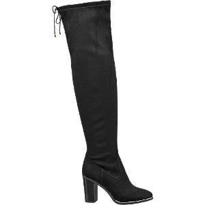 czarne kozaki Catwalk za kolano z ozdobnym wiązaniem