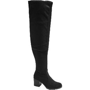 czarne kozaki Graceland za kolano na stabilnym obcasie
