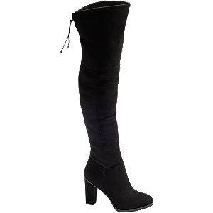 czarne kozaki Graceland za kolano na wysokim obcasie