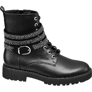 czarne sznurowane botki damskie Catwalk z błyszczącym paskiem